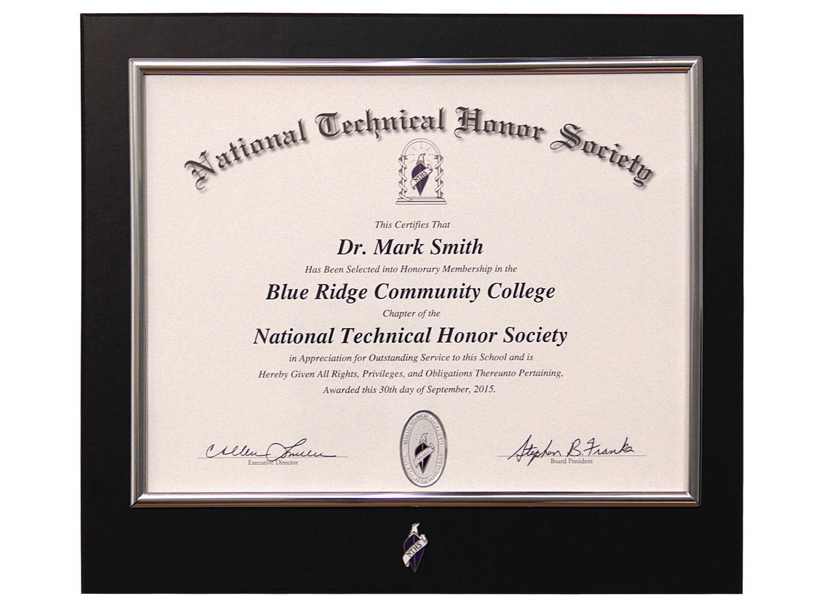 certificate frame nths
